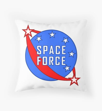 Space Force Logo Red White And Blue Throw Pillow