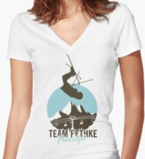 Team Fethke: Freestyle (Brown/Blue) Fitted V-Neck T-Shirt