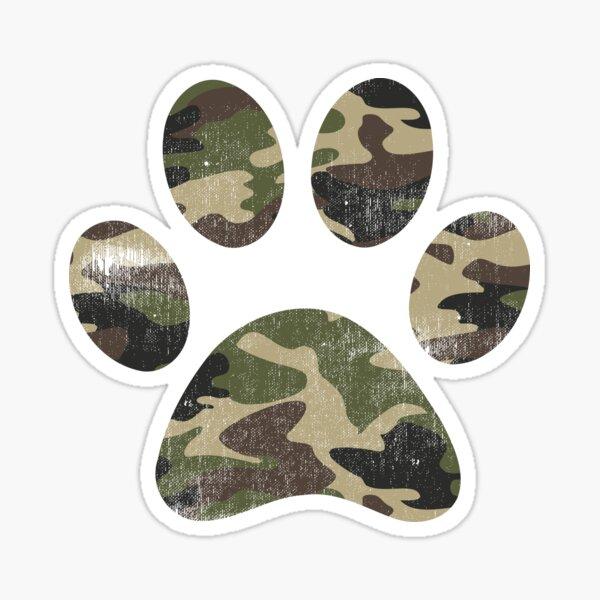 Vintage Camouflage Dog Paw Print  Sticker