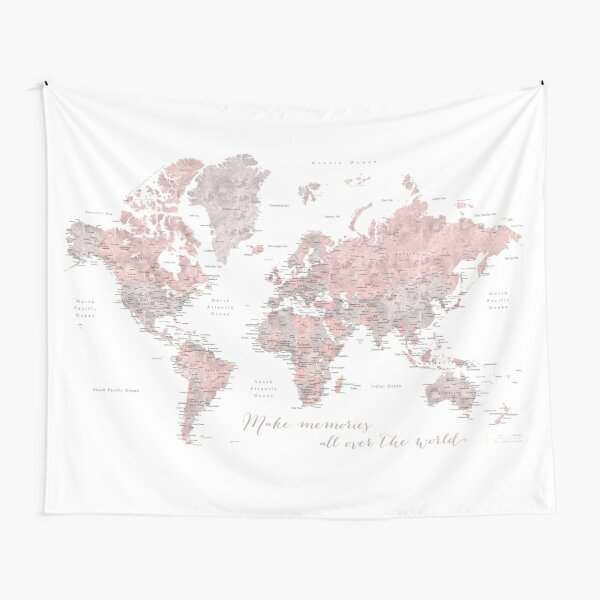 Make memories - world map in dusty pink and grey watercolor Tapestry
