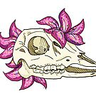 Deer Skull and Lilies by BriPi