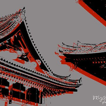 Kyoto Roofs in Red_Grey_Black by BryanSoCal