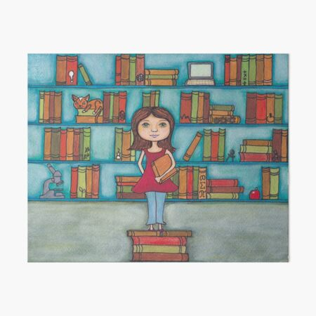 STEM Library Girl Art Board Print