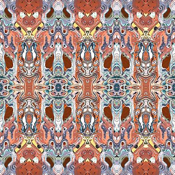 Abstract Orange And Blue Symmetry by perkinsdesigns