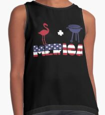 Flamingo plus Barbeque Merica American Flag Blusa sin mangas