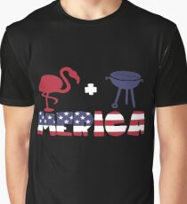 Funny Flamingo plus Barbeque Merica American Flag Camiseta gráfica