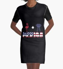 Flamingo plus Barbeque Merica American Flag Vestido camiseta