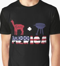 Alpaca plus Barbeque Merica American Flag Camiseta gráfica
