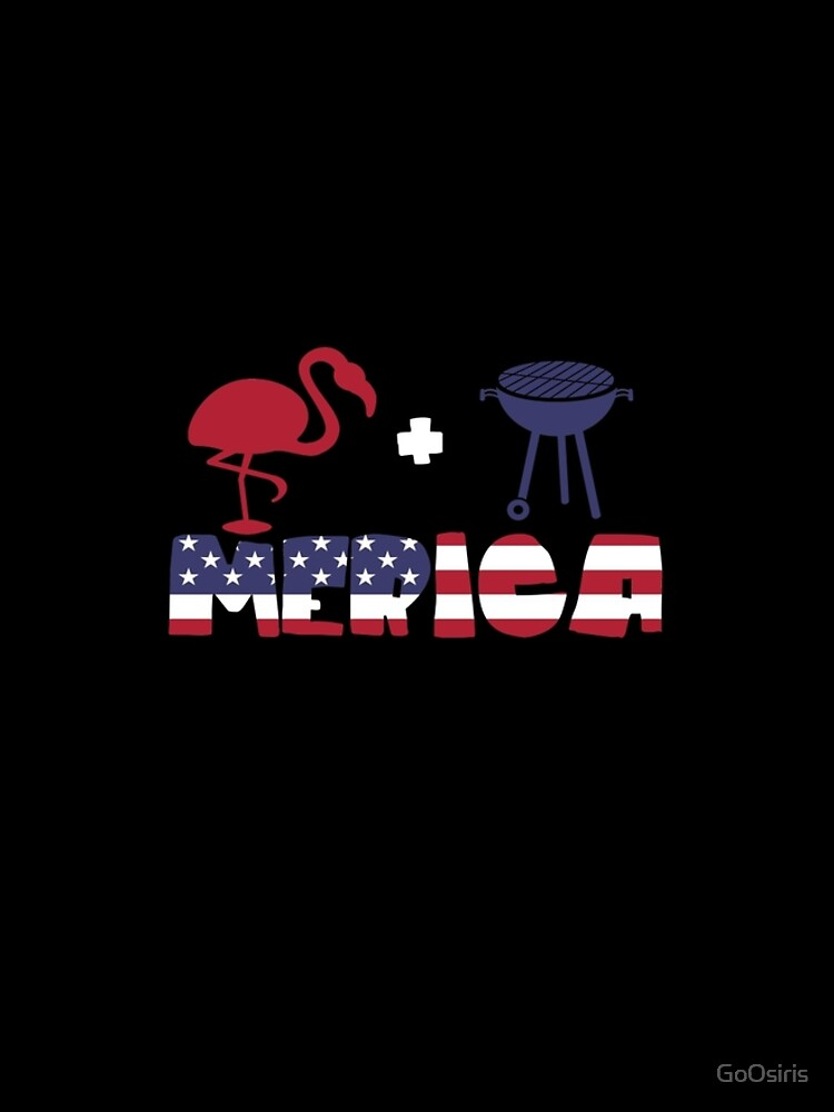 Funny Flamingo plus Barbeque Merica American Flag de GoOsiris
