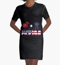 Funny Flamingo plus Barbeque Merica American Flag Vestido camiseta