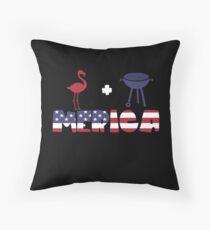 Flamingo plus Barbeque Merica American Flag Cojín