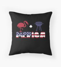 Funny Flamingo plus Barbeque Merica American Flag Cojín de suelo