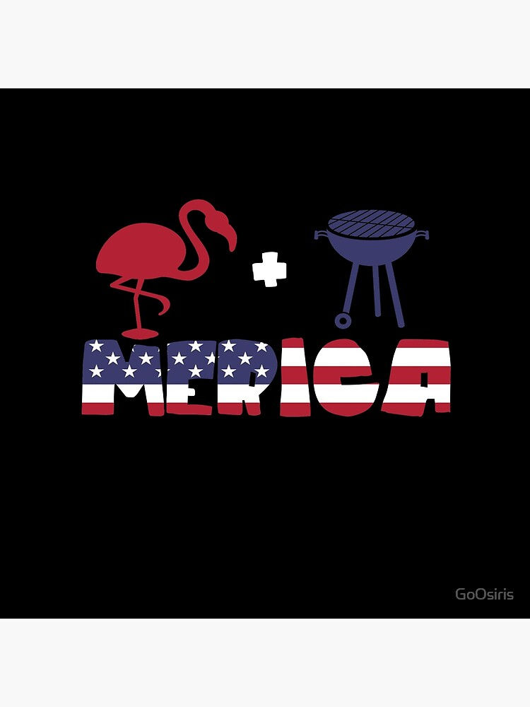 Funny Flamingo plus Barbeque Merica American Flag de GoOsiris