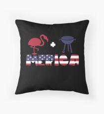 Funny Flamingo plus Barbeque Merica American Flag Cojín