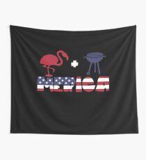Funny Flamingo plus Barbeque Merica American Flag Tela decorativa