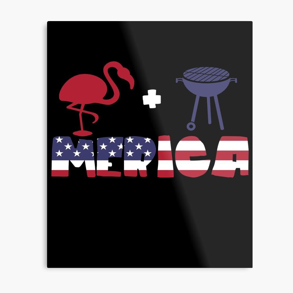 Funny Flamingo plus Barbeque Merica American Flag Lámina metálica