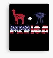 Alpaca plus Barbeque Merica American Flag Lienzo