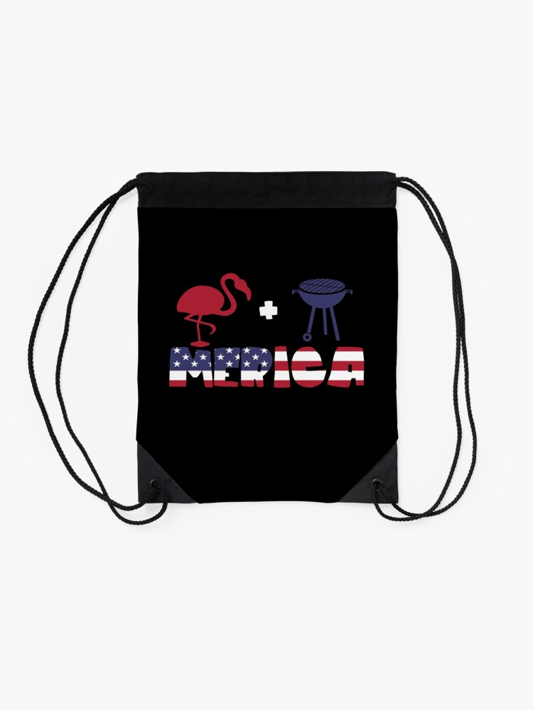Vista alternativa de Mochila saco Funny Flamingo plus Barbeque Merica American Flag