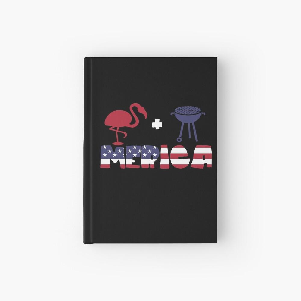 Funny Flamingo plus Barbeque Merica American Flag Cuaderno de tapa dura