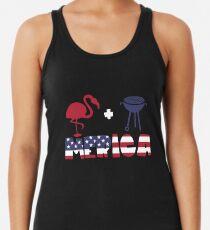 Funny Flamingo plus Barbeque Merica American Flag Camiseta con espalda nadadora