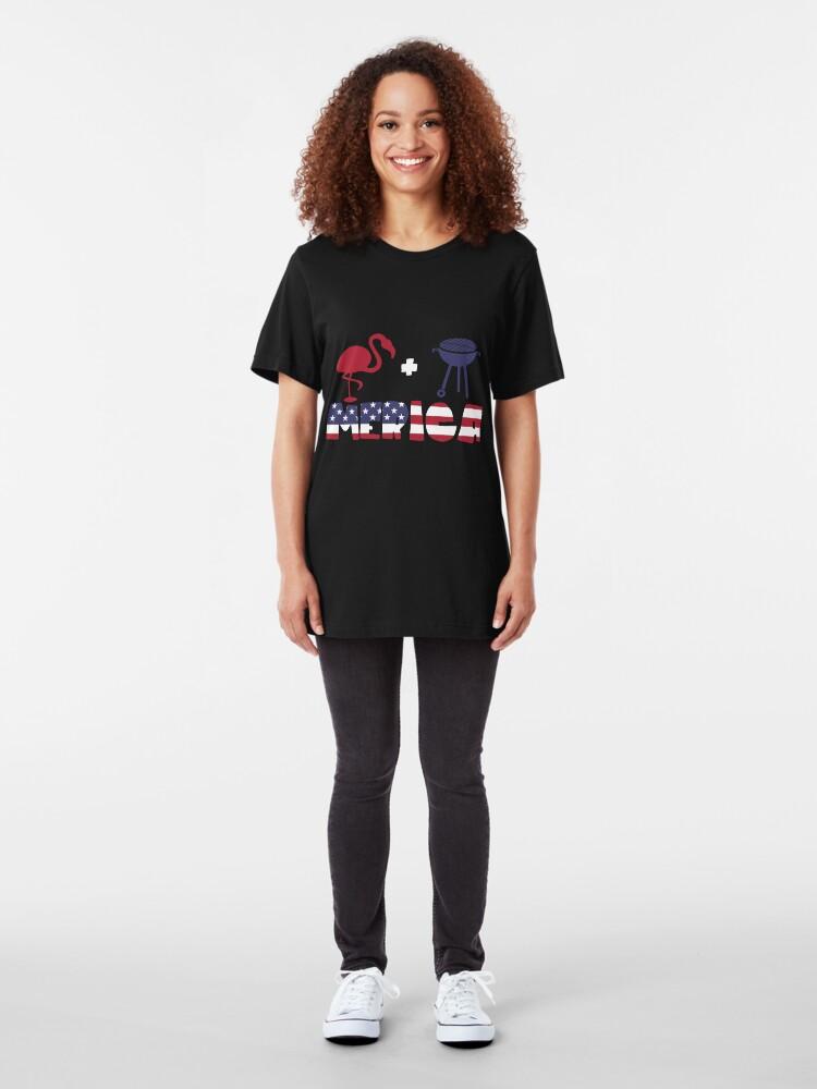 Vista alternativa de Camiseta ajustada Funny Flamingo plus Barbeque Merica American Flag