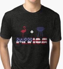 Flamingo plus Barbeque Merica American Flag Camiseta de tejido mixto