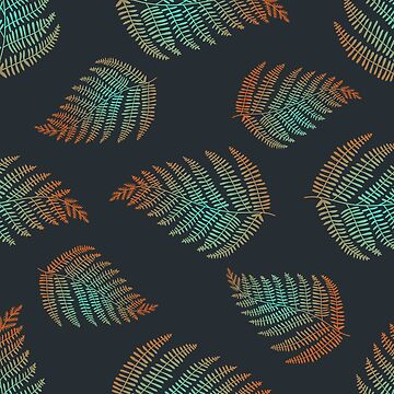 Fern leaf vector seamless pattern. Nature leaf fern texture by julkapulka