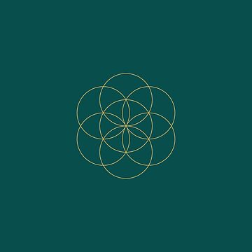 Sacred Geometry Pattern on Green Background. by broadmeadow
