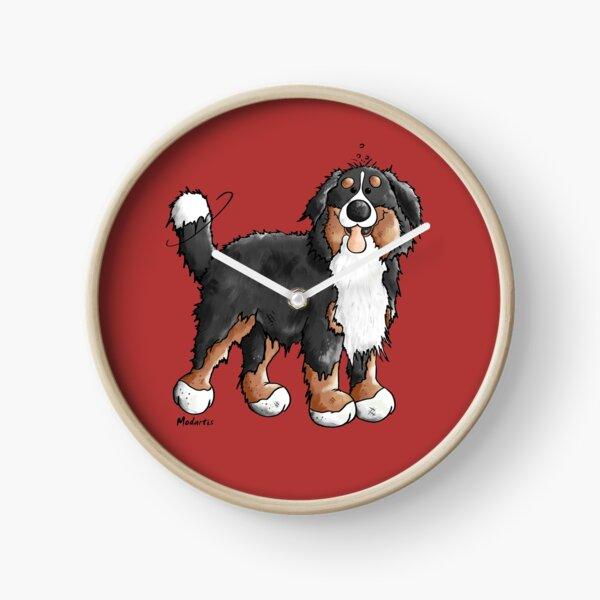 Happy Bernese Mountain Dog - Comic - Dogs - Cartoon - Gift - Funny Clock