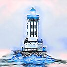 Angels Gate Lighthouse (blue/white theme) by Joe Lach