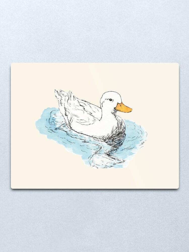 Alternate view of White Duck Metal Print