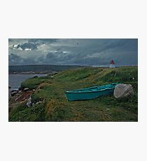 Nova Scotia skiff and lighthouse Photographic Print