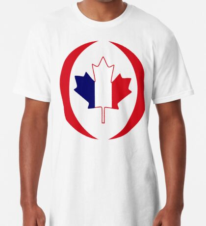 French Canadian Multinational Patriot Flag Series Long T-Shirt