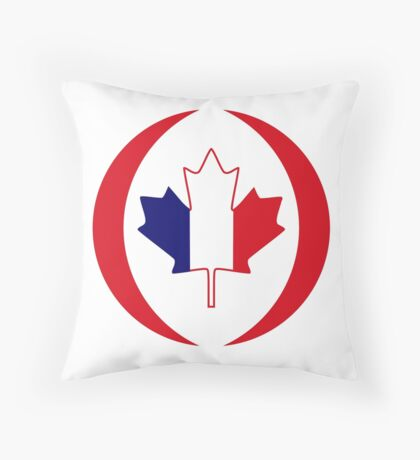 French Canadian Multinational Patriot Flag Series Throw Pillow