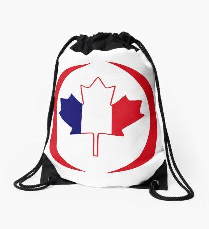 French Canadian Multinational Patriot Flag Series Drawstring Bag