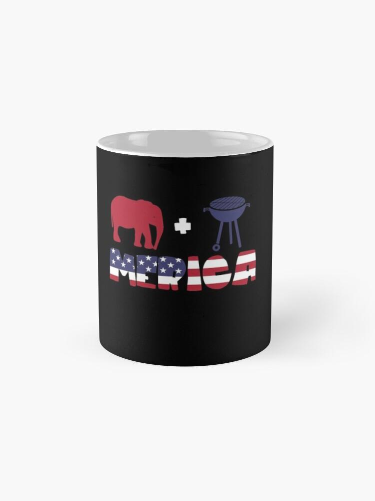 Vista alternativa de Taza Funny Elephant plus Barbeque Merica American Flag
