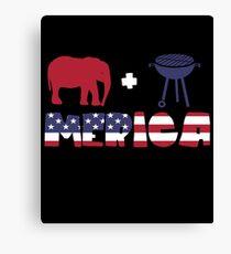 Funny Elephant plus Barbeque Merica American Flag Lienzo
