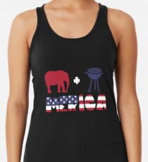 Funny Elephant plus Barbeque Merica American Flag Camiseta con espalda nadadora