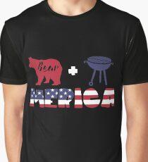 Funny Bear plus Barbeque Merica American Flag Camiseta gráfica
