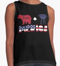 Funny Bear plus Barbeque Merica American Flag Blusa sin mangas