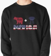 Funny Bear plus Barbeque Merica American Flag Sudadera sin capucha