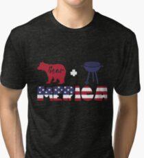 Funny Bear plus Barbeque Merica American Flag Camiseta de tejido mixto