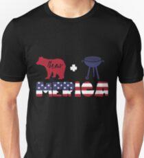 Funny Bear plus Barbeque Merica American Flag Camiseta ajustada