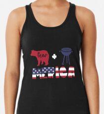 Funny Bear plus Barbeque Merica American Flag Camiseta con espalda nadadora