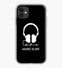 Music is Life Headphones Heartbeat Illustration - White / Black iPhone Case