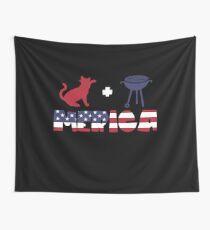 Cat plus Barbeque Merica American Flag Tela decorativa
