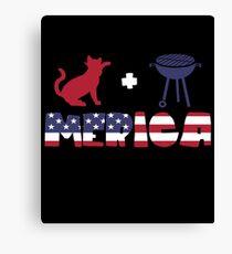 Cat plus Barbeque Merica American Flag Lienzo