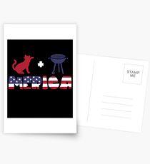 Cat plus Barbeque Merica American Flag Postales