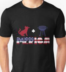 Cat plus Barbeque Merica American Flag Camiseta ajustada