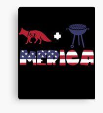 Foxplus Barbeque Merica American Flag Lienzo